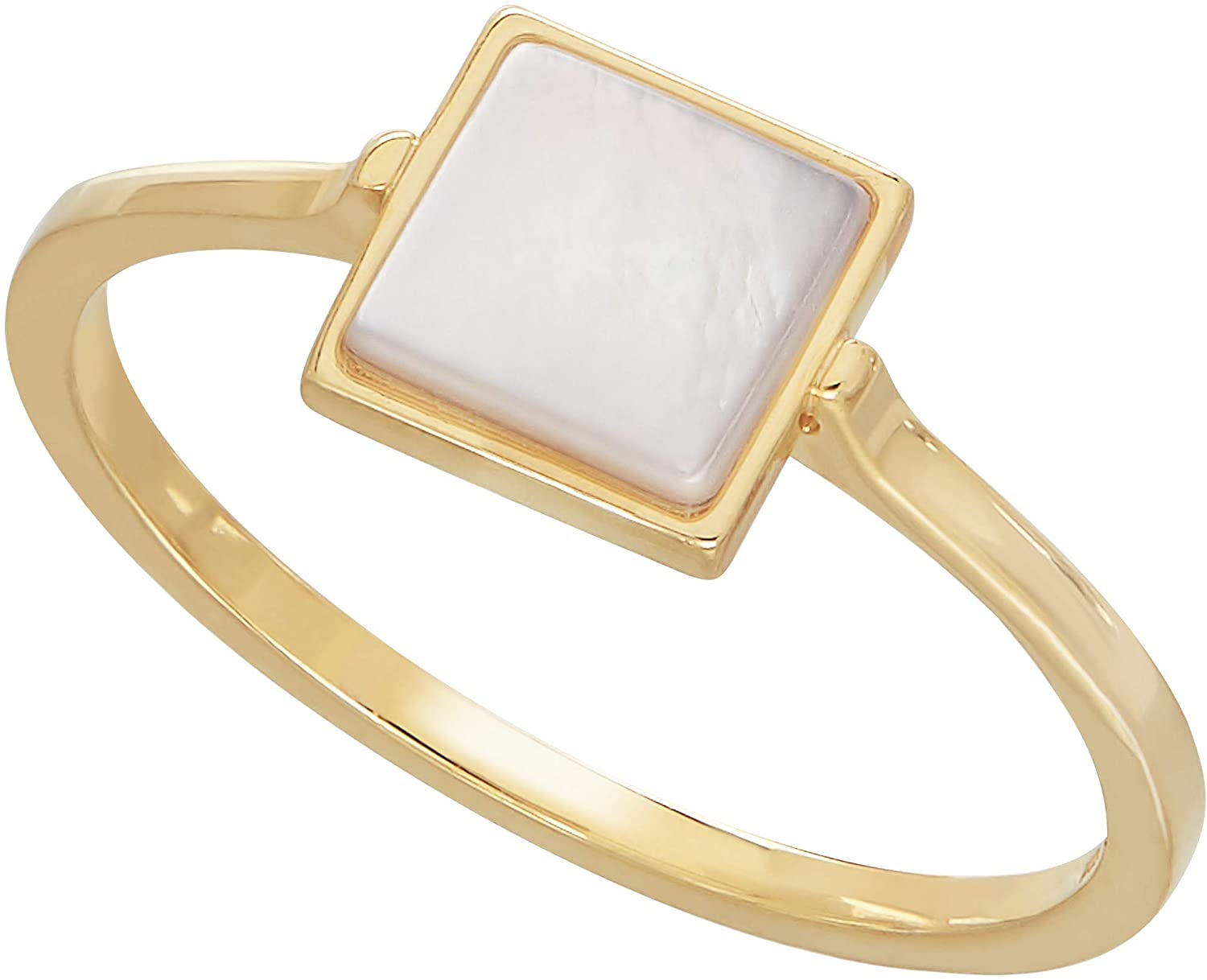 Honora Square Natural Mother-of-Pearl Solitaire Ring in 14K Gold