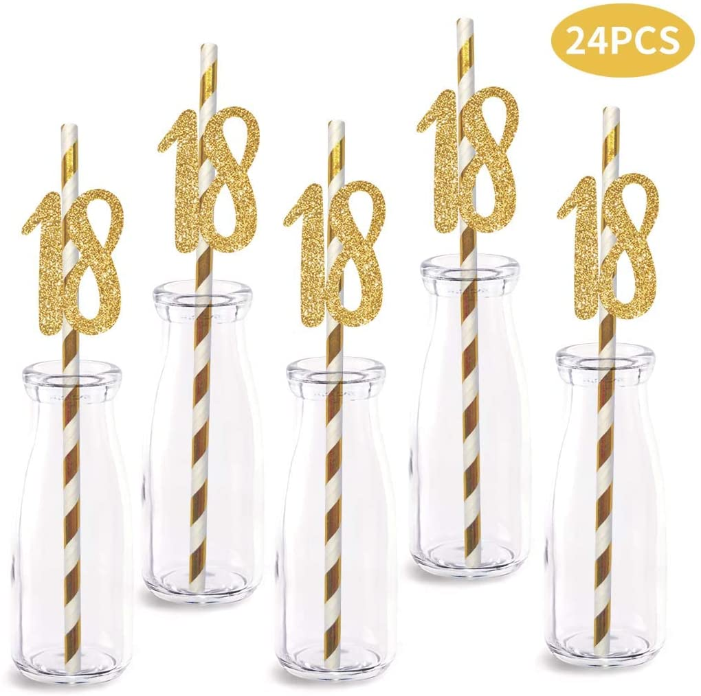 18th Birthday Paper Straw Decor, 24-Pack Real Gold Glitter Cut-Out Numbers Happy 18 Years Party Decorative Straws