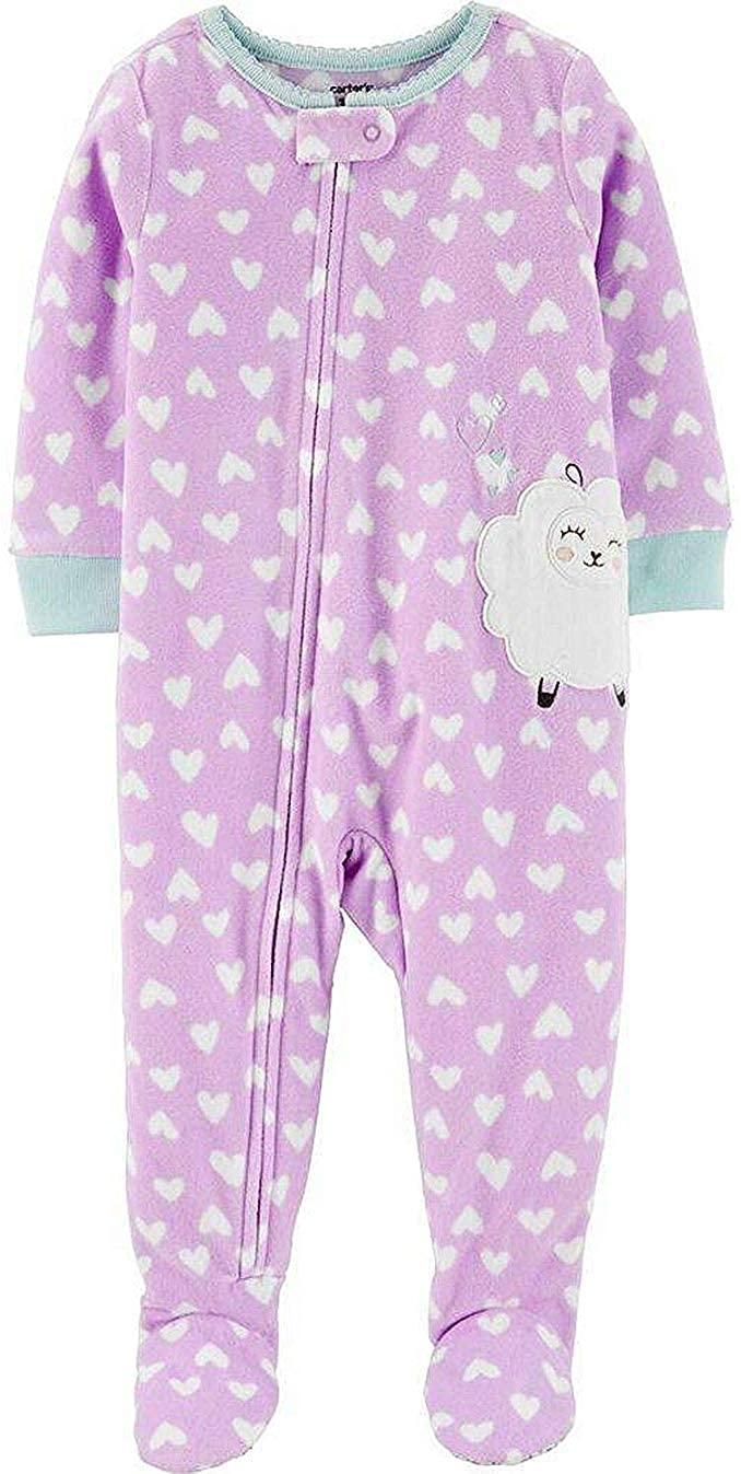 Carter's Toddler Girl's Fleece Sheep Heart Print Pajama Sleeper