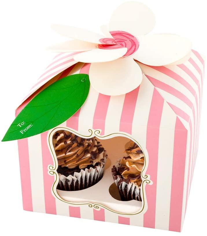 Pastry Tek Pink Paper Flower Top Cupcake Window Gift Box - Stripes, Fits 4-7