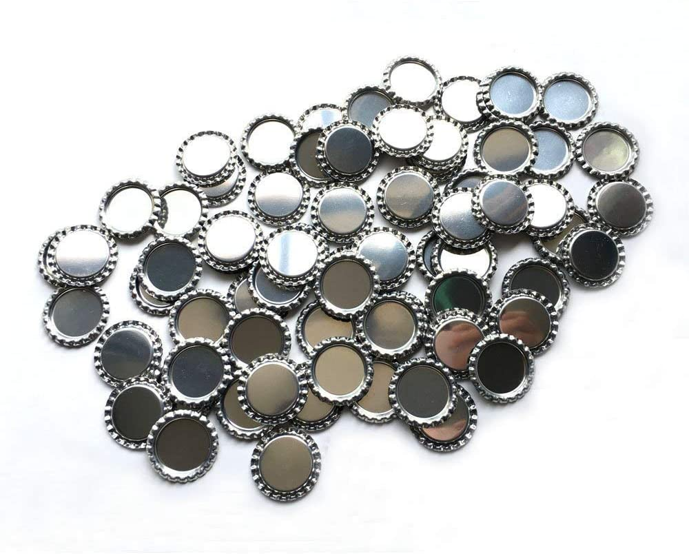 RUTICH 100 PCS Flat Decorative Bottle Cap Craft Bottle Stickers Double Sideds Printed for Hair Bows, DIY Pendants or Craft ScraPbooks(Silver)
