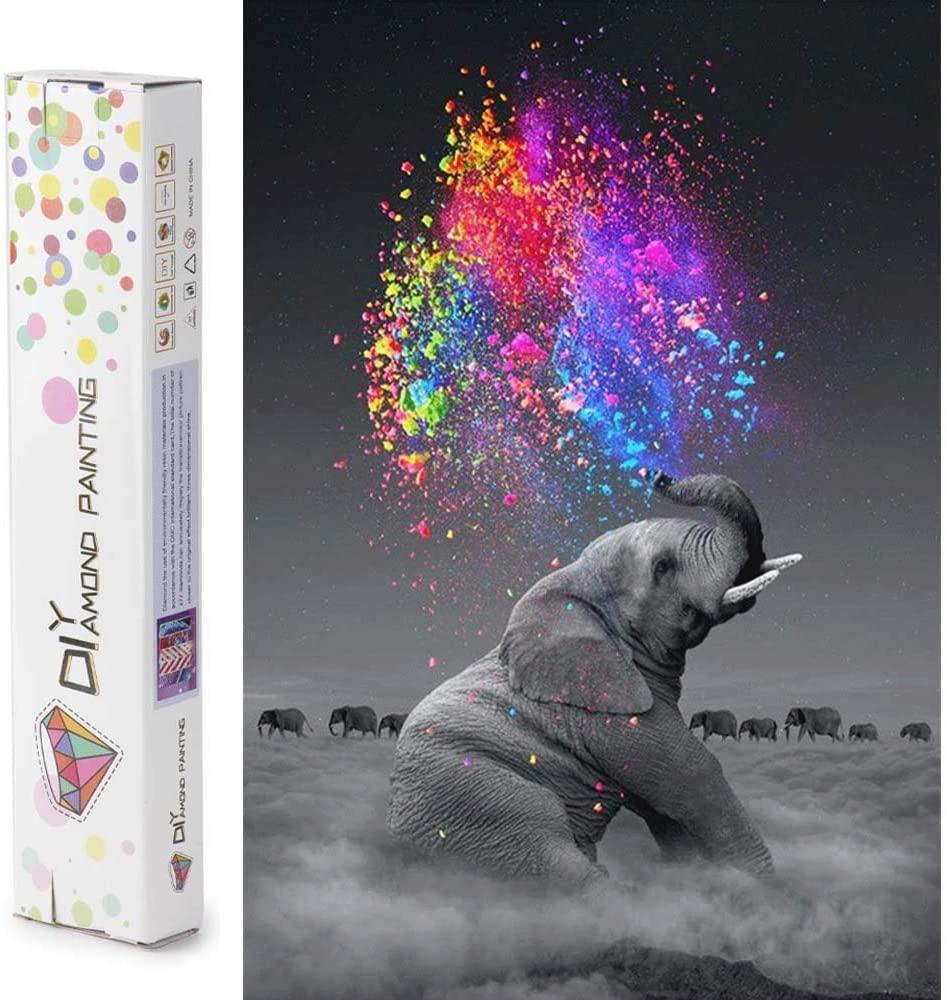 Sonsage Diamond Painting Art,Gray Elephant,Full Round Diamond Drill Kit,DIY Rhinestone Wall Painting Kit,Gem Art Craft Home Game for Adult Kid 15.8x11.8 inch
