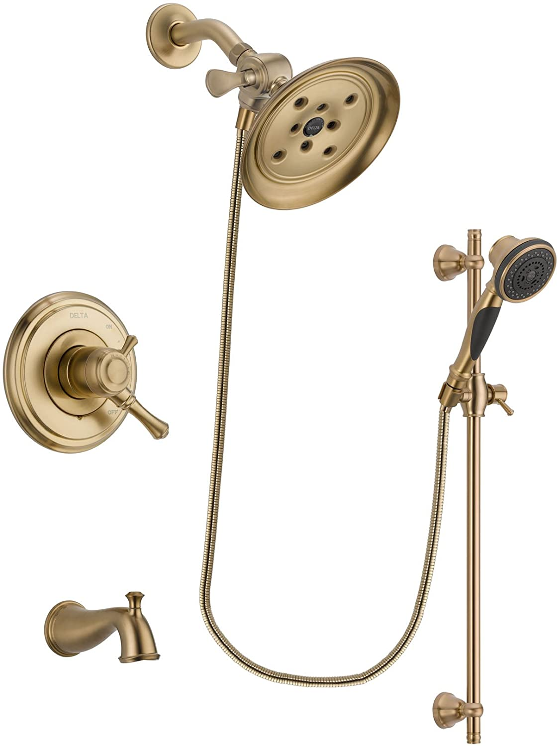 Delta Cassidy Champagne Bronze Dual Control Tub and Shower Faucet System with Large Rain Shower Head and Personal Handheld Shower Spray with Slide Bar Includes Rough-in Valve and Tub Spout DSP3601V