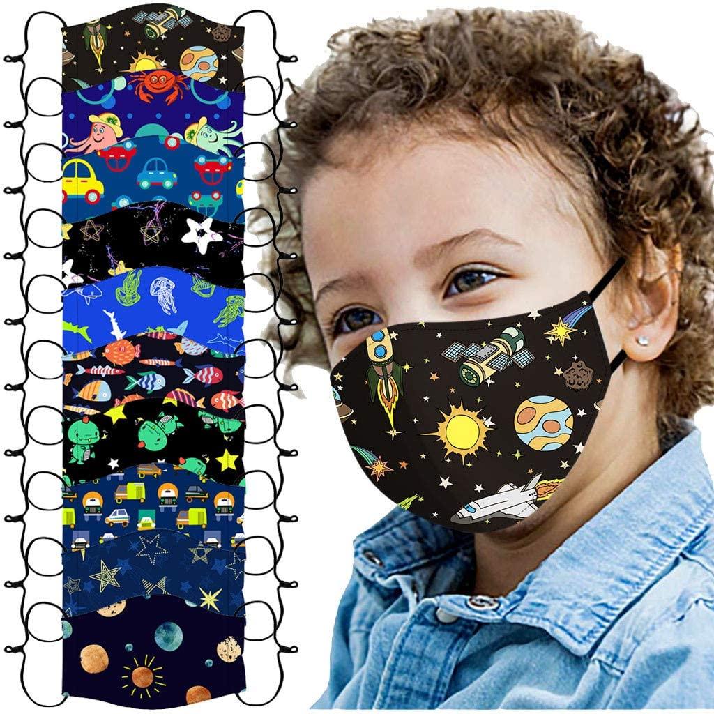 10/12PCs Breathable Mouth Shields Children's Adjustable Windproof Reusable Printed Face Màsc Bandanas to Go School