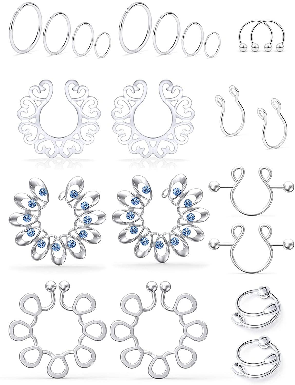 SCERRING Fake Nipple Ring Stainless Steel Non-Piercing Nipple Rings Clip On Nipplerings Faux Body Piercing Jewelry for Women Men 11 Pairs