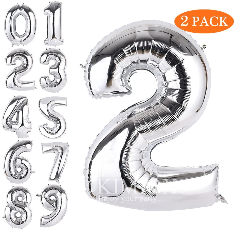 KIMIOX Number Balloons, 2 Pcs 40 Inch Birthday Number Balloon Party Decorations Supplies Helium Foil Mylar Digital Balloons (Silver Number 2)
