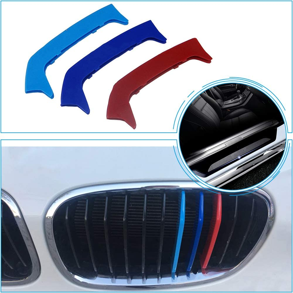 for 12-14 BMW 1 Series (11Grilles one Side) M 3D Grill Stripes Accessories and Pure Black Door Sill Protect Sticker 7Pcs