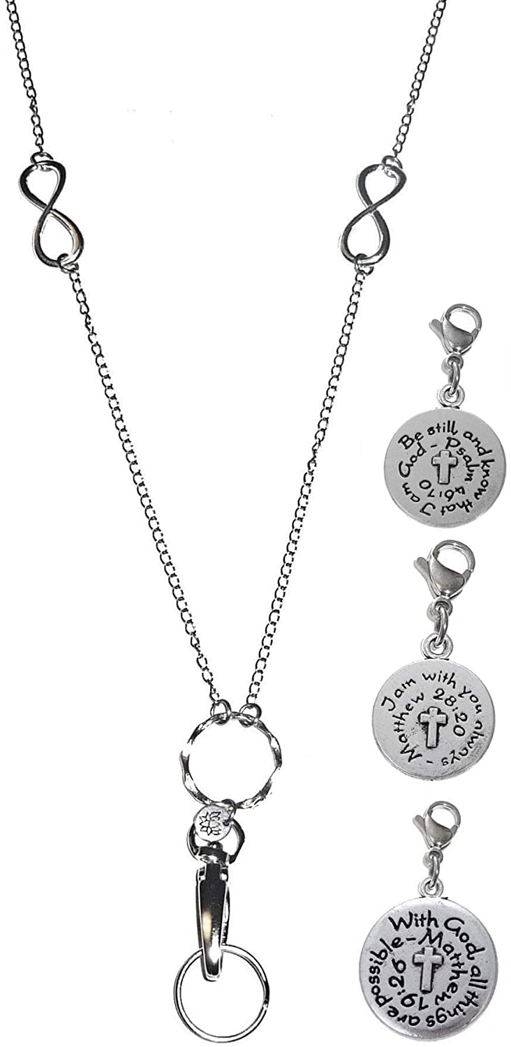 3 Charm Message Pack, Fashion Lanyard Necklace, Women's Super Strong Chain Lanyard for ID Badge Holder and Keys, 34