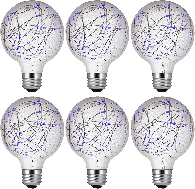 Sunlite 41019-SU LED G30 Globe Fairy Bulb String-Light Decorative Lightbulb, 6 Pack, Blue