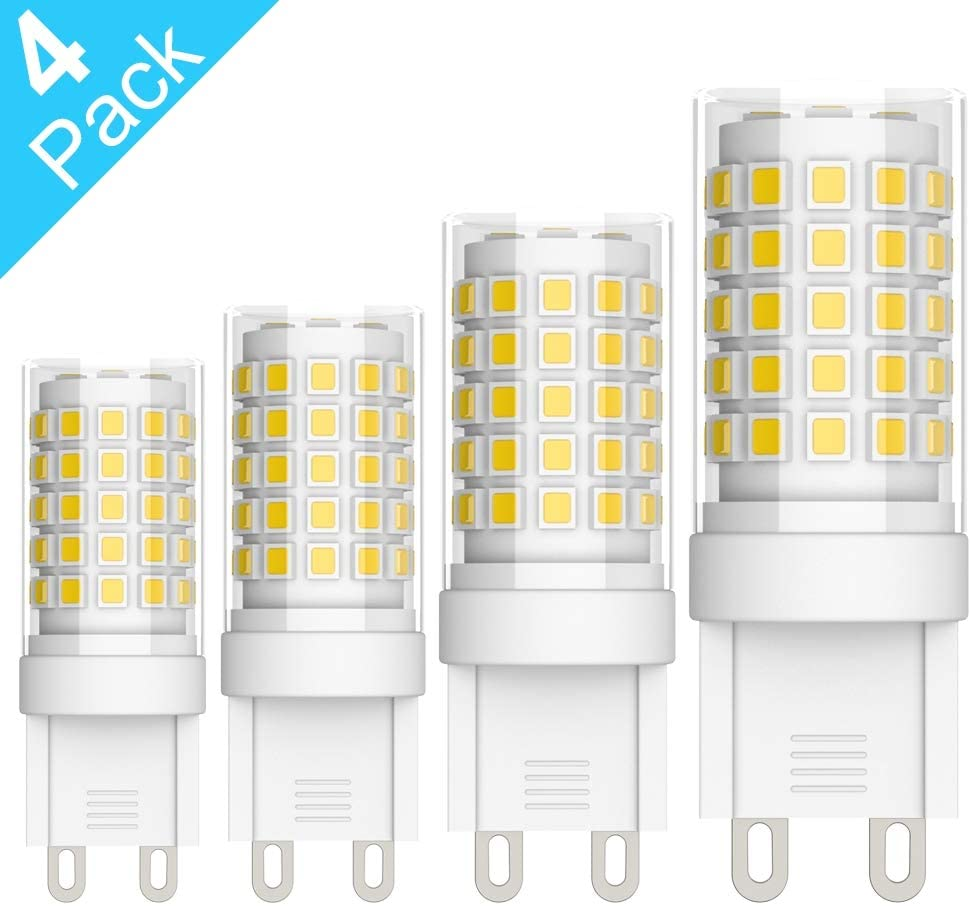 Ralbay G9 LED Bulb 7W (40W - 60W Halogen Equivalent), 110V - 120V G9 Ceramic Base Non-dimmable, 700LM 4000K~4500K Natural White No Flicker 4-Pack