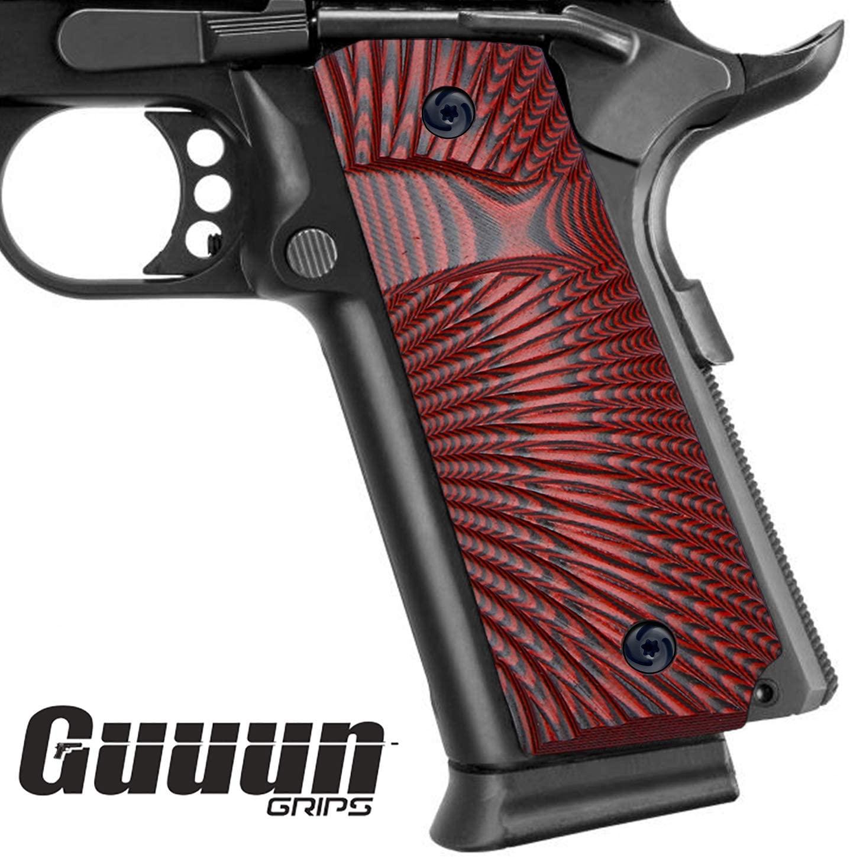 Guuun 1911 Slim Grips G10 Full Size Ambi Safety Cut Big Scoop Sunburst Texture