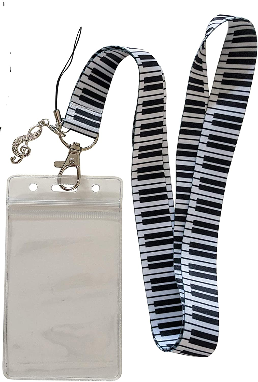 Piano Keys Lanyard ID Badge Holder w/Rhinestone Charm (A)