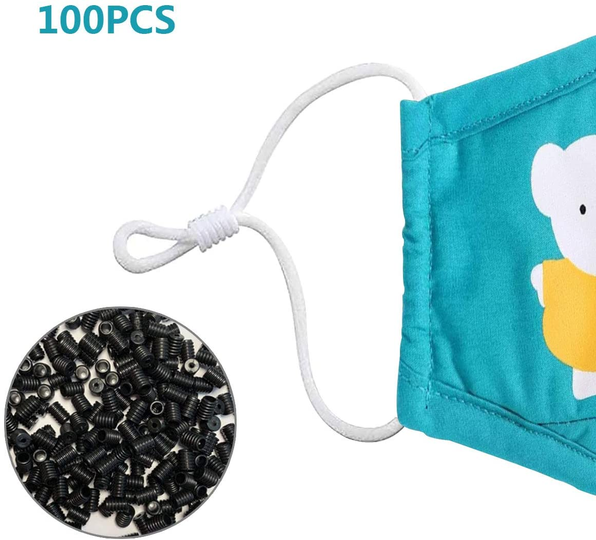 Soft Cord Locks,Toggles for Drawstrings Elastic Cord Adjuster Non Slip Stopper Round Elastic Adjustment Buckle(100PCS Black)