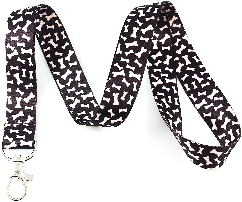 Dog Themed Lanyard Key Chain Id Badge Holder (Dog Bones)