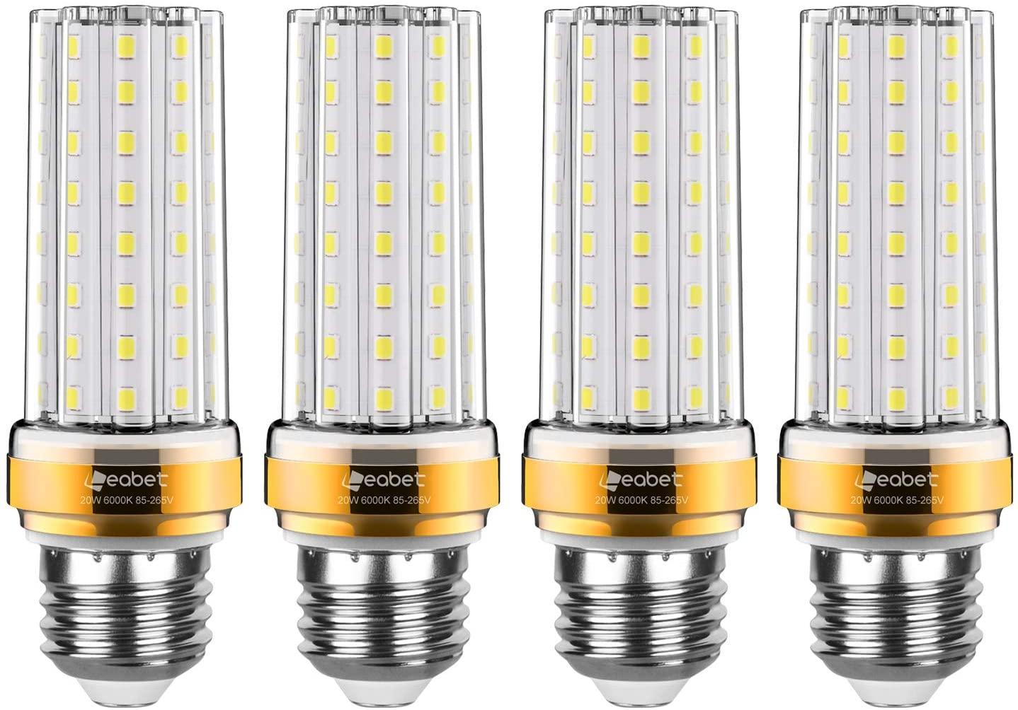 E26 LED Corn Bulb,20W LED Candelabra Light Bulbs,150 Watt Equivalent,Cool White Daylight White 6000K Indoor Home Lighting,for Home, Warehouse, 85-265V,CRI80,Non-Dimmable(4 Packs)