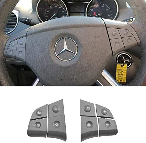 TTCR-II Steering Wheel Switch Control Buttons For Mercedes Benz W164 ML320 ML350 ML400 ML430 ML500 ML550 ML63 2006/2007/2008 X164 GL320 GL350 GL450 GL550 GL63 2007/2008 (8 pcs, Grey)