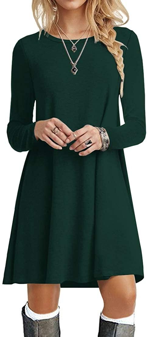POPYOUNG Womens Long Sleeve T Shirt Dresses Casual Swing Dress
