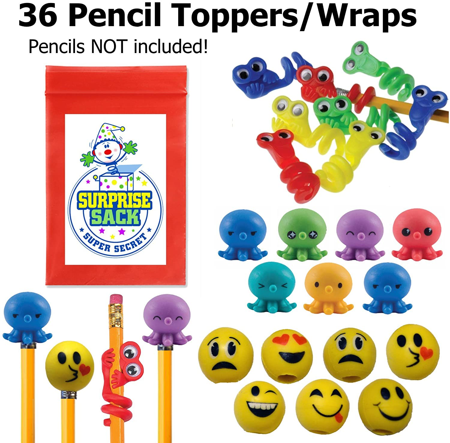 Super Secret Surprise Sack Emoji, Octo Squishies, & Wiggle Eye Pencil Topper Pack (36 Pc) with 1