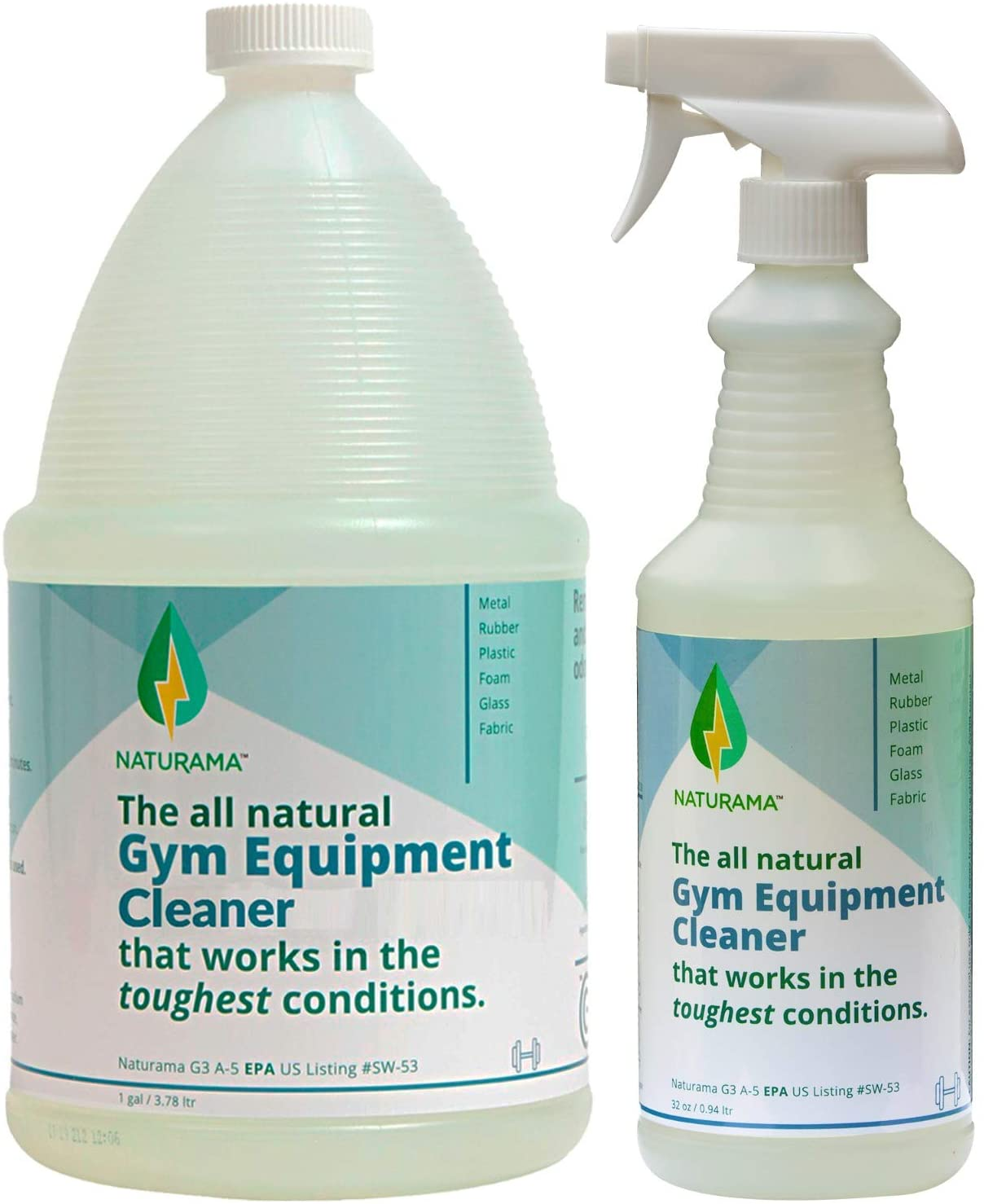 Naturama Yoga Mat Cleaner - Eco-Friendly Gym Equipment Cleaner, Works Great On Exercise Machines, Mats, Sports Gear. Cleans Sweat Without Slippery Residue. unscented and Hypoallergenic. (Refill)