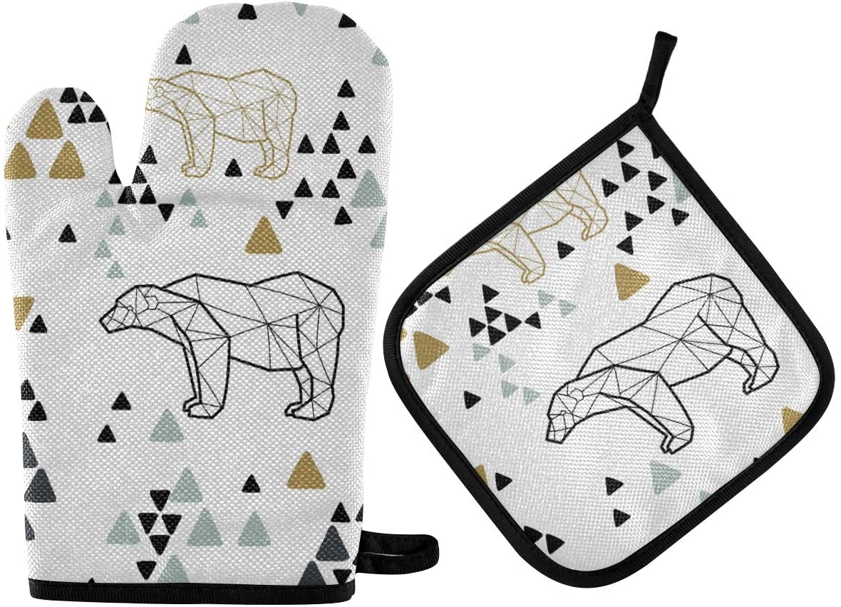 Oven Mitts and Pot Holders Geometric Cute Bear High Heat Resistant Cooking Gloves Potholders Set for Kitchen BBQ Baking Grilling