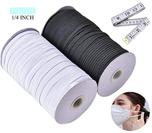 Sewing Elastic Bands Flat 1/4 Inch,Saim 2X30 Yards Length Elastic Cord Flat Bands Rope Bungee for Sewing DIY with Measuring Tape