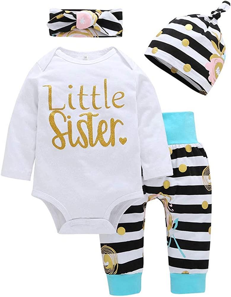 Yokidi Newborn Girl Outfits Baby Girl Little Sister Newborn Romper + Leggings + Hat + Headband Clothes Set