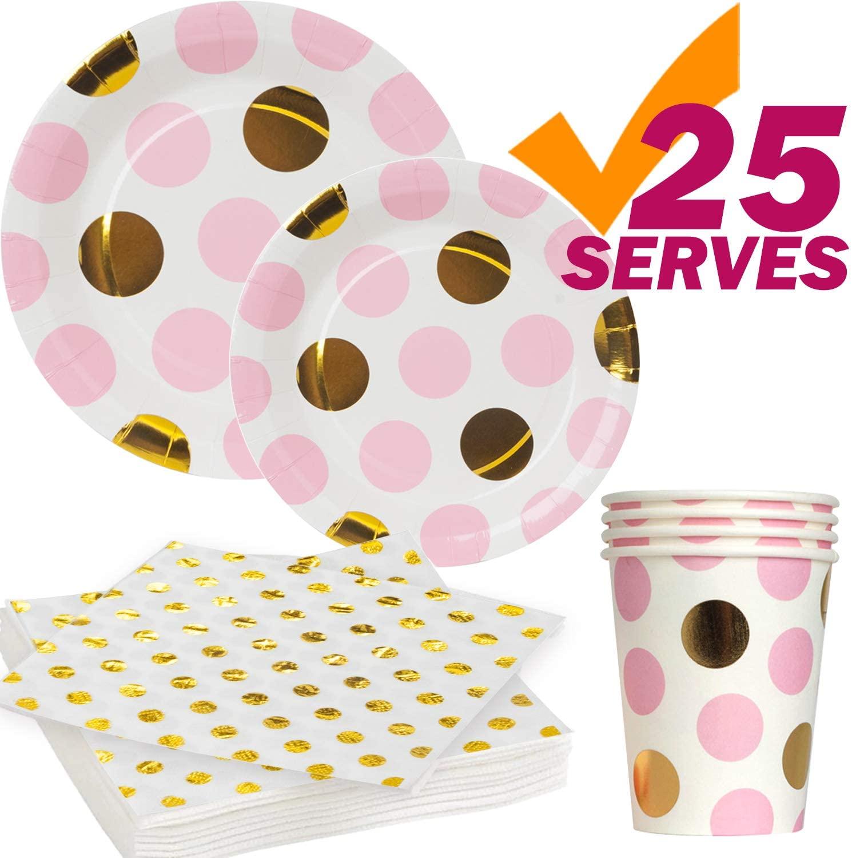 Pink Gold Plates Cups Napkins, 25 serves