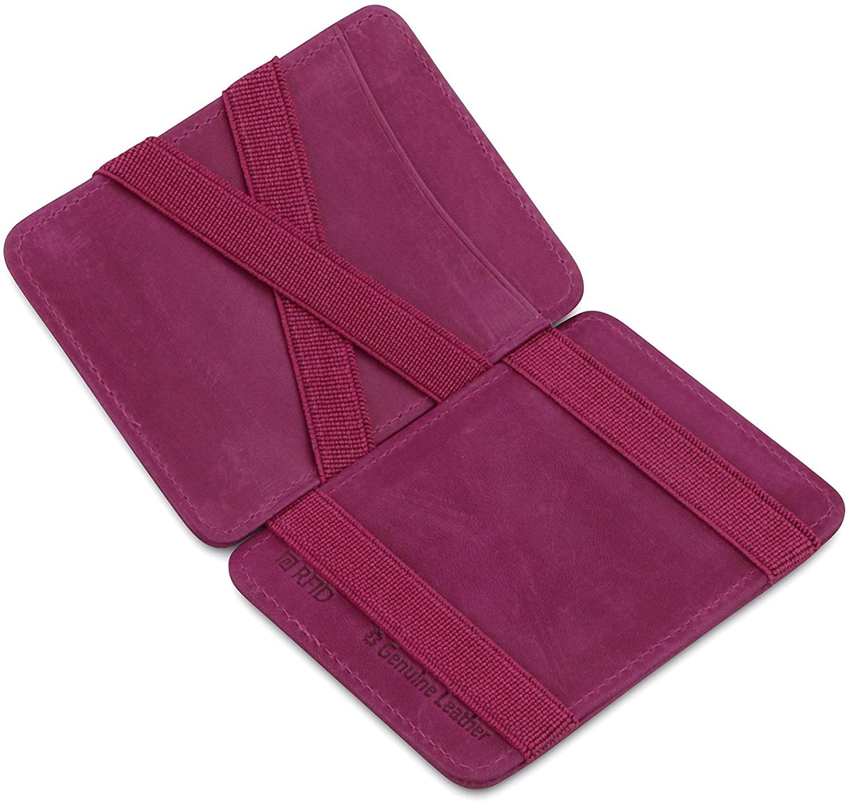 Hunterson Minimalist Slim Magic Wallet, Genuine Leather RFID Blocking
