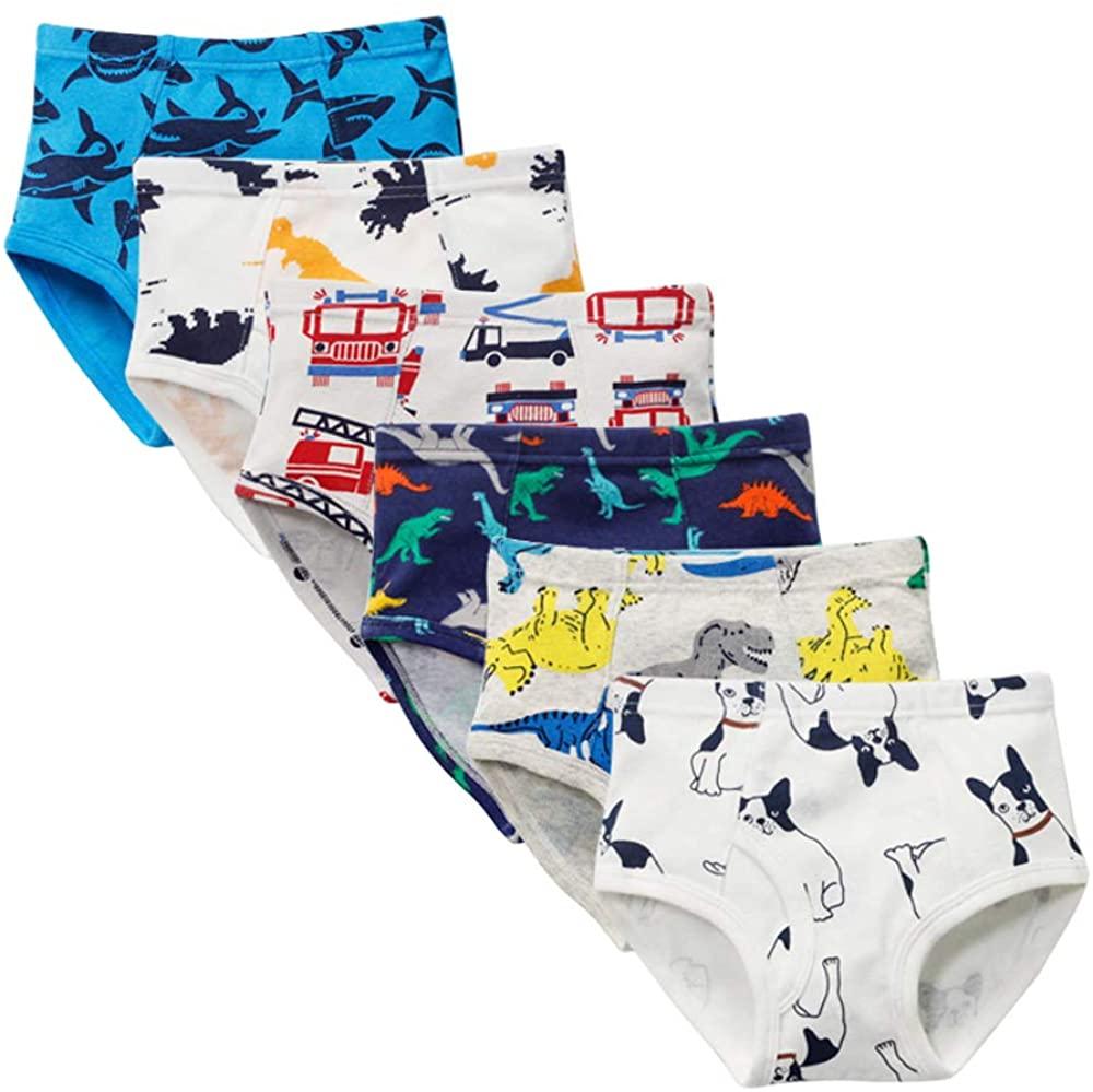 Closecret Kids Series Baby Soft Cotton Underwear Dinosaur Truck Shark Little Boys Assorted Briefs(Pack of 6)
