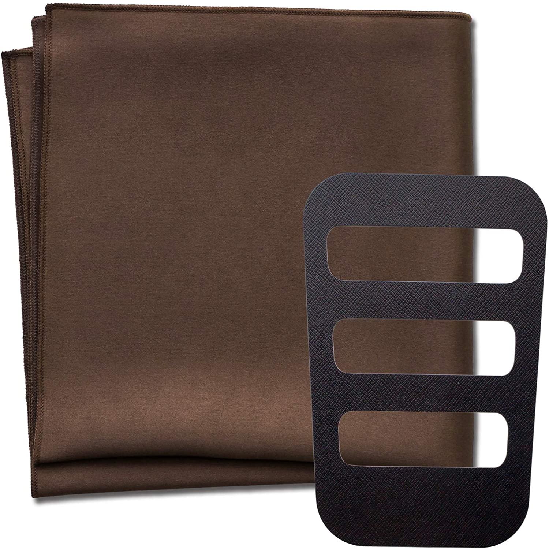 WANDM Pocket Squares for Men Silk 100% Big Size 13.75 × 13.75 inches Solid Color Satin Holder Set