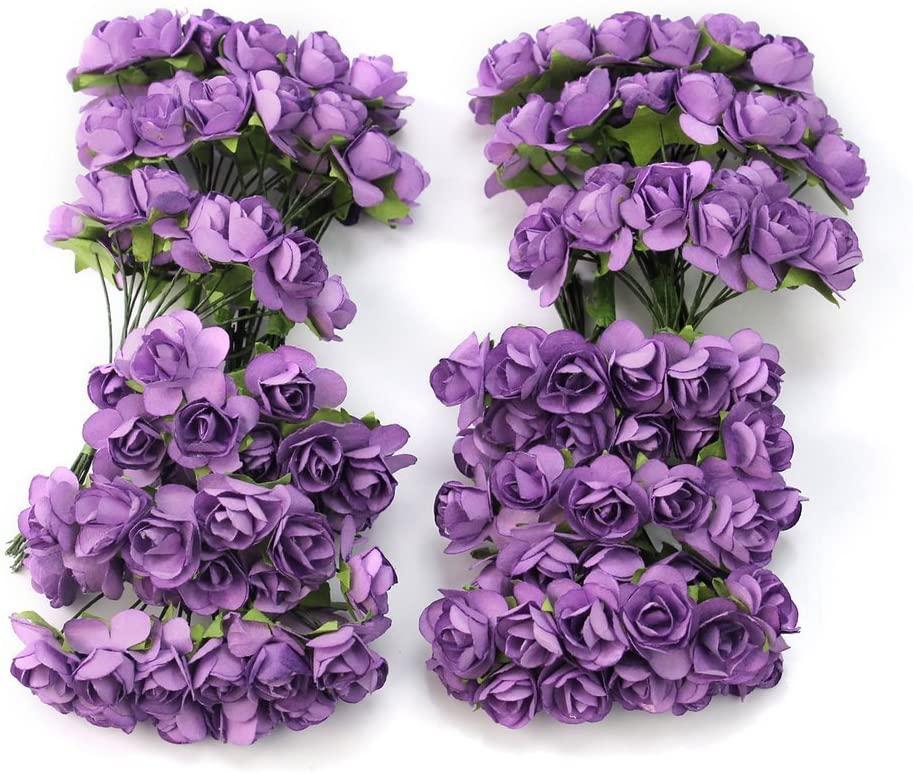 Worldoor Pack of 144pcs Chic Mini Artificial Paper Rose Flower Wedding Card Decor Craft DIY - Purple