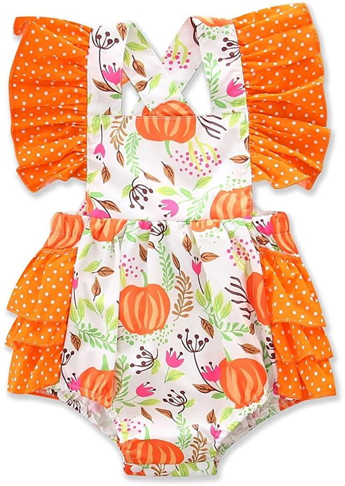 My First Halloween Pumpkin Romper for Baby Girl, Cute Ruffle Newborn Baby Girl Bodysuit Jumpsuit