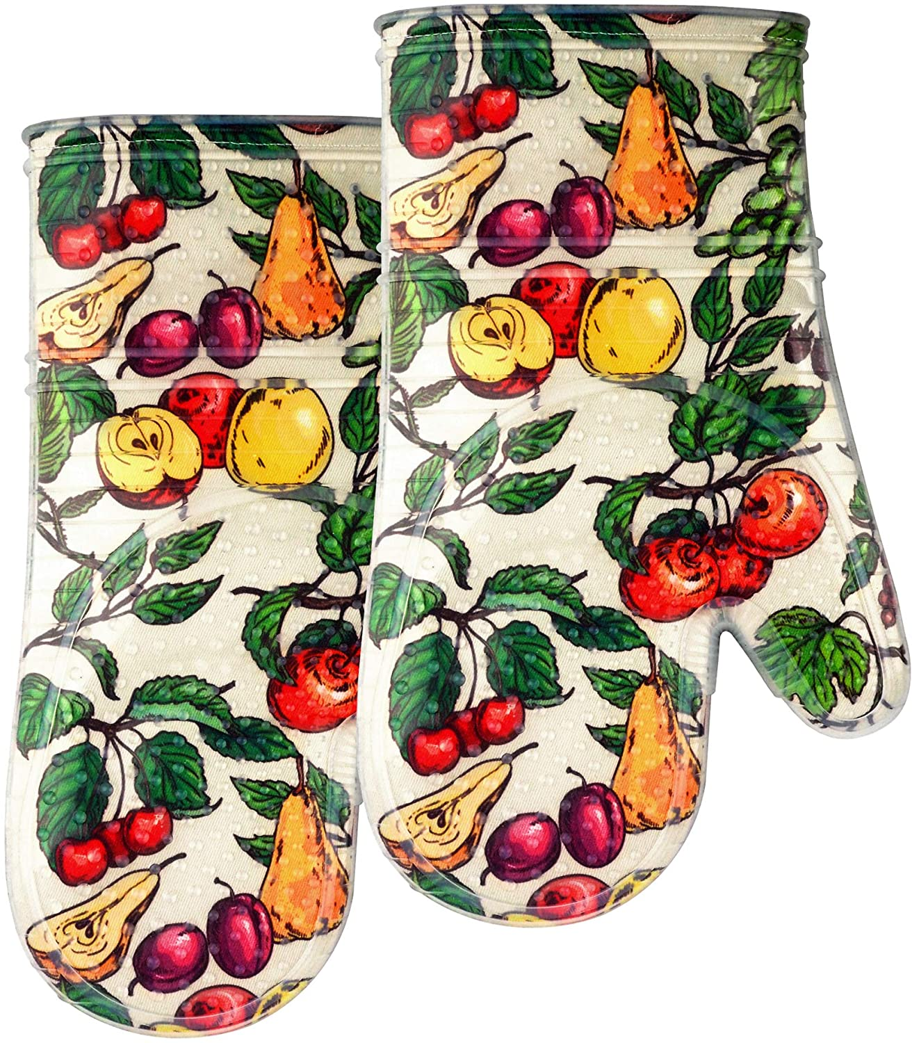 Oven Mitts set of 2 with Transparent clear Silicone shell and nice Fruit flower cotton lining, Heat Resistant to 500 F kitchen Oven Gloves pot holder for cooking (Fruit flower, Oven Mitts)