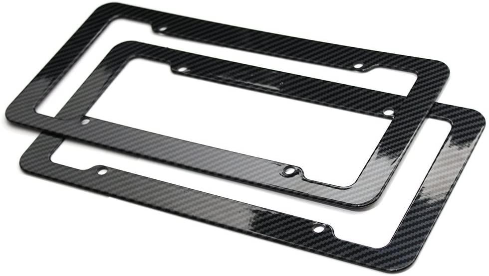 OxGord 2pc Front Carbon Fiber Plastic License Plate Frames, Black