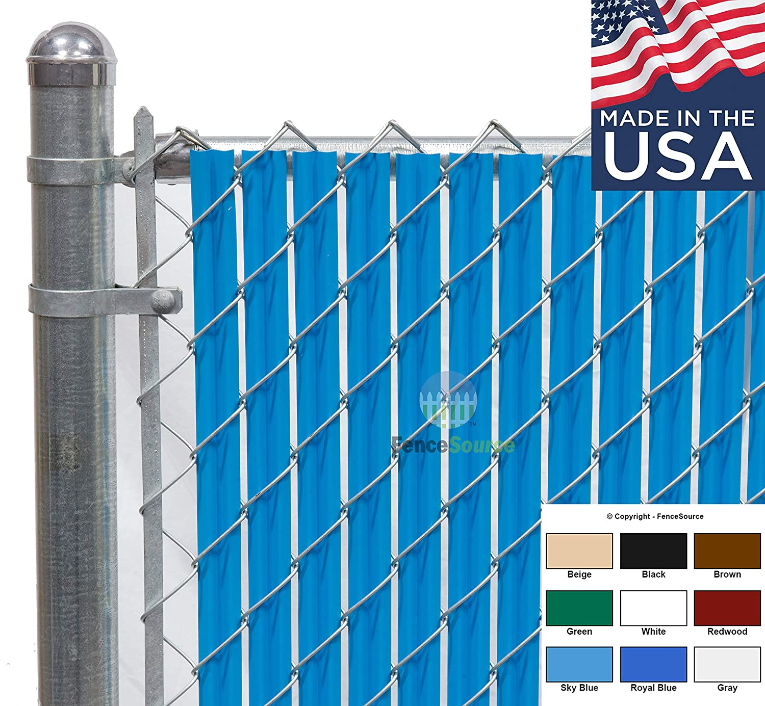 Fence Source Wave Slat (9 Colors) Single Wall Bottom Locking Privacy Slat for 4', 5', 6', 7' and 8' Chain Link Fence (4 ft, Sky Blue)