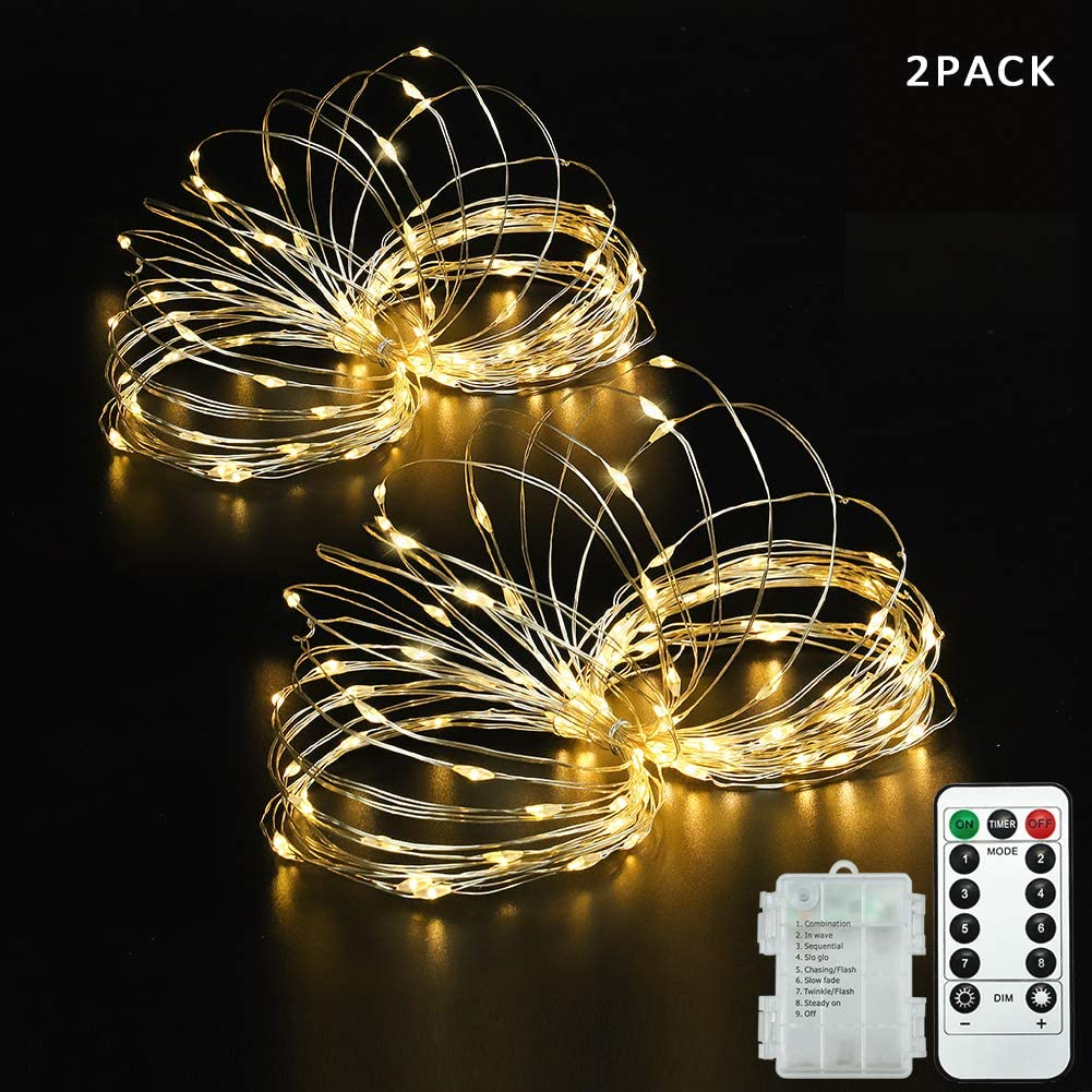 Beewin 2 Pack 16.5ft 50 LED Copper String Lights,8 Modes Christmas Fairy Lights with 3AA Battery Remote Timer & Controller Waterproof for Wedding, Patio, Bedroom, Party, Christmas Decor(Warm White)