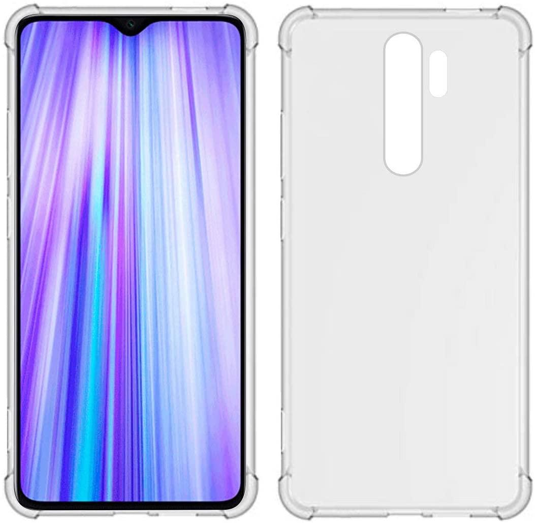 USTIYA Case for Xiaomi Mi Redmi Note 8 Pro Clear TPU Four Corners Cover Transparent Soft