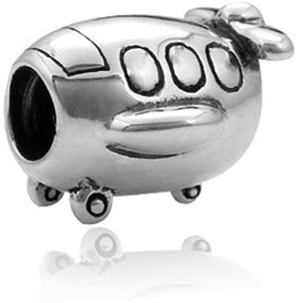 Airplane Charms Flight Beads - 925 Sterling Silver Beads - for DIY Charms Bracelet