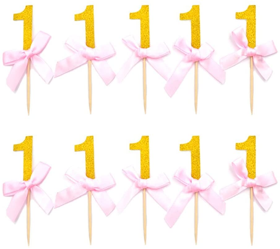 HZOnline HOKPA Number One Cupcake Toppers Glitter with Pink Ribbon Bow 1st One Birthday Decorations Kids' Gathering DIY Home Theme Party Food Fruit Cake Picks for Baby Shower Decor (24PCS Gold)