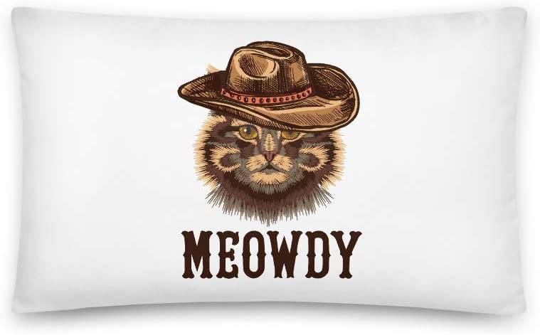 Meowdy All-Over Print Basic Pillow | Funny Cat Pillow | Cowboy Cat | Texan Cat Gift | Southern Accent | Funny Texas Pillow | Howdy Pillow | Cat Lover Gift | Gift for Cat Mom | Cat Lover Pillow