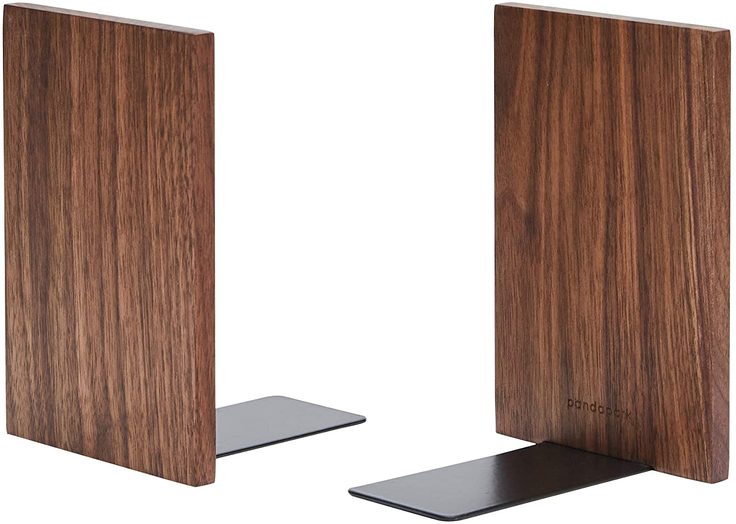 Pandapark Wood Bookends,Nature Coating,Decorative Bookend,6''X4'',1Pair in Pack, (Walnut Master)