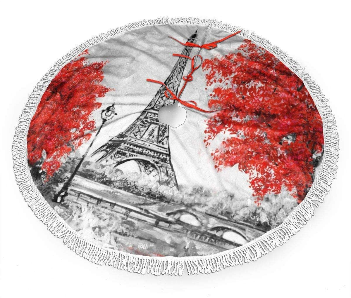 Boutique 9 Paris European City Eiffel Tower Christmas Tree Skirts,Large Round Xmas Tree Skirt Mat for Xmas Decorations,Christmas Party Holiday Ornaments 30