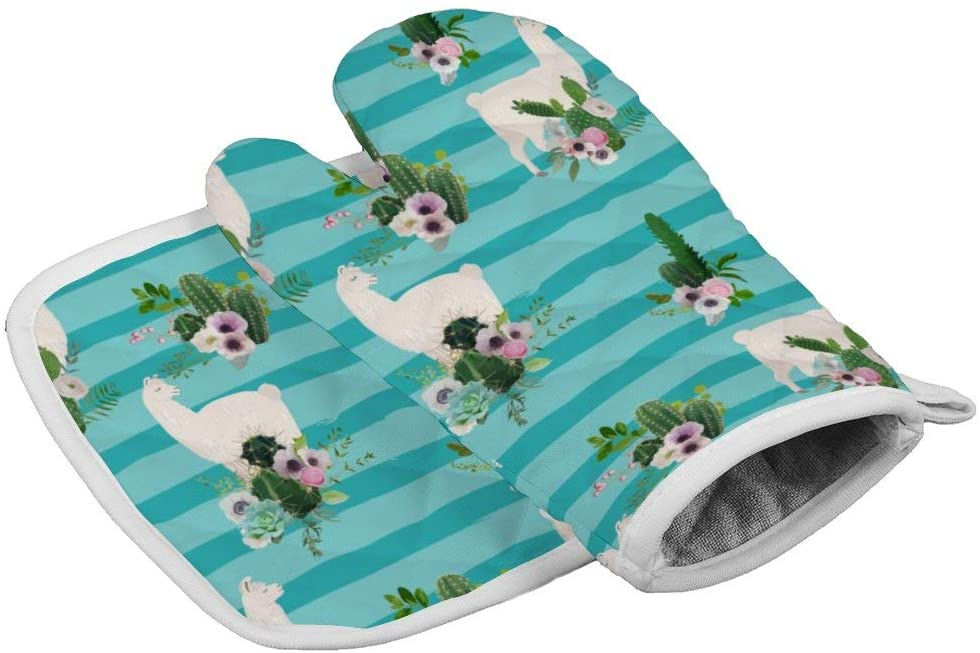 QSMX Llama Among Cactus Flowers Bush Extra Long Professional Oven Mitt, Oven Mitts with Quilted Liner, Heat Resistant Pot Holders, Flexible Oven Gloves, Safe for Handling Hot Cookware Items