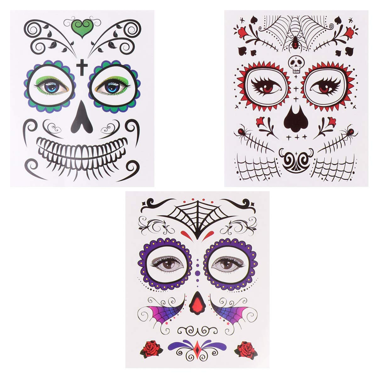 Minkissy 6pcs Face Tattoo Stickers Day of the Dead Makeup Stickers for Halloween Festival Costume