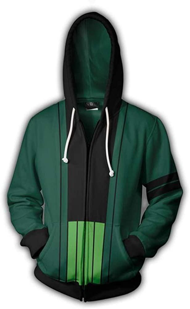 zhacaoji Unisex 3D Printing Zip up Hoodie Sweatshirt Jacket Anime Costume