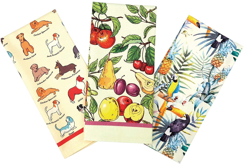 RED LMLDETA Kitchen Dish Towels Tea Towels Set of 3 Machine Washable Fabric 100% Cotton Home Men Women Coffee Flour Sack Cooking Thanksgiving (Bird, Dog & White)