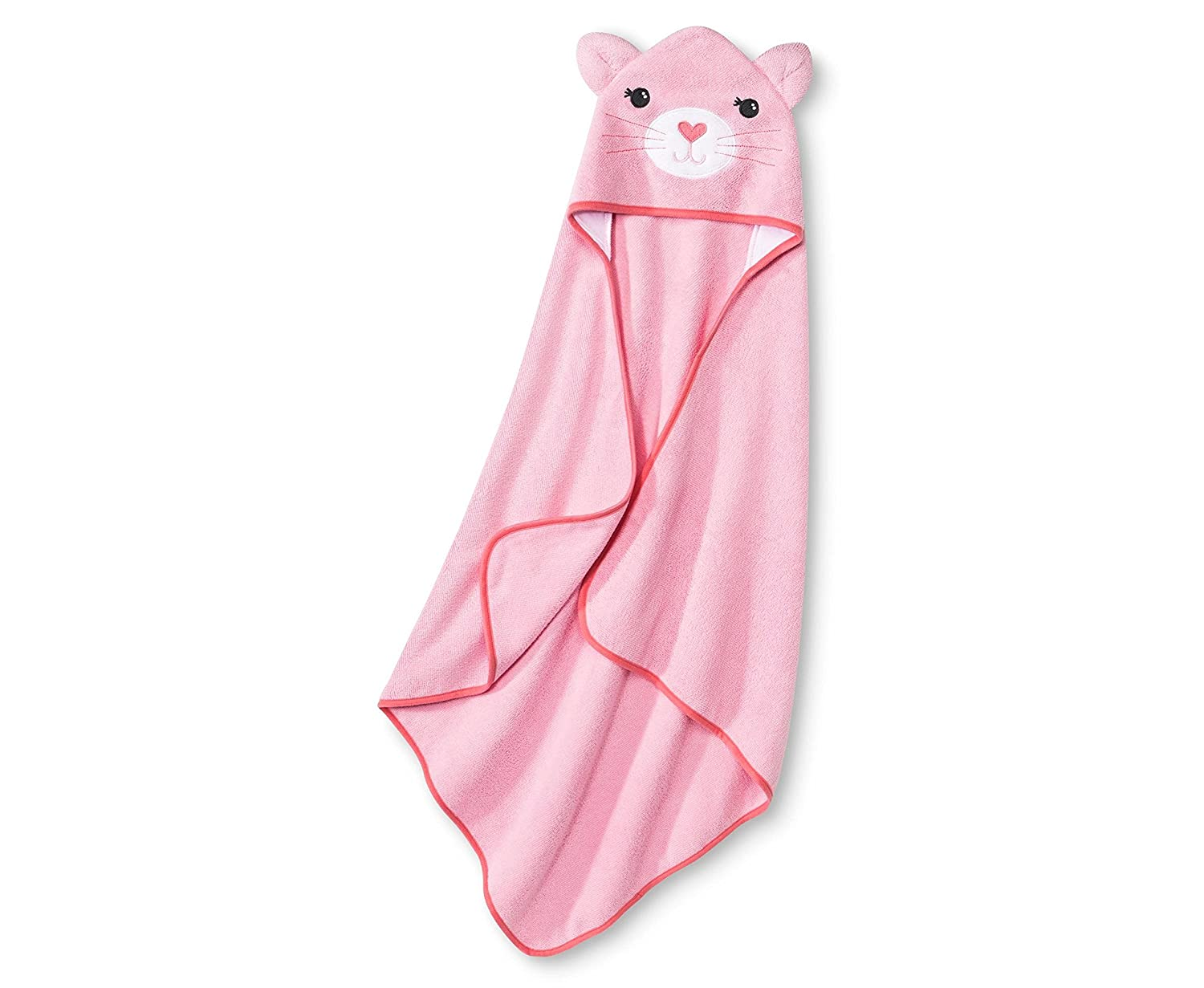 Newborn Boys' Hooded Bath Towel Blue (Pink). Fits Gently Over Baby's Head for Quick Warmth, and Swaddles Cozily for Complete Drying
