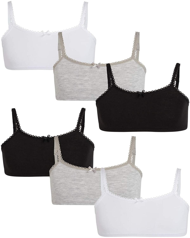 Rene Rofe Girls Cotton Spandex Cami Crop Training Bra with Adjustable Straps (6 Pack)