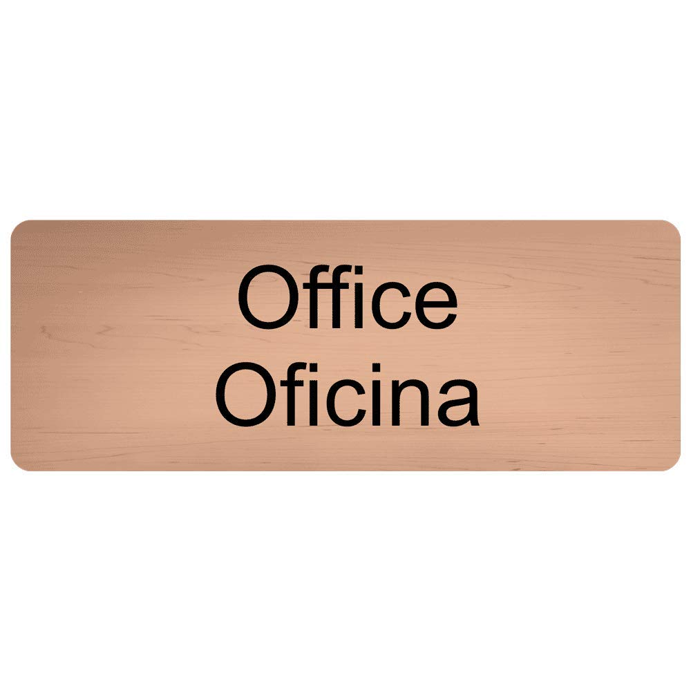 Office - Oficina Engraved Bilingual Sign for Wayfinding Office, 8x3 in. Black on Cashew Plastic by ComplianceSigns