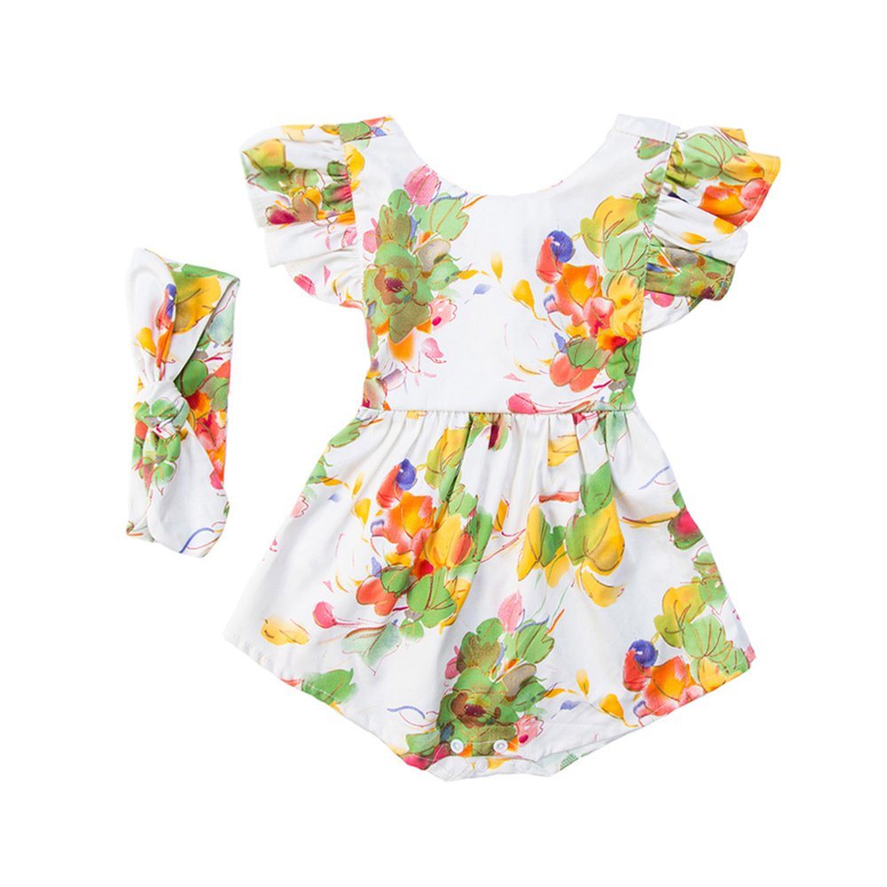 Galabloomer Baby Girl Floral Sleeveless Bodysuit Romper Jumpsuit Outfit Set with Headband